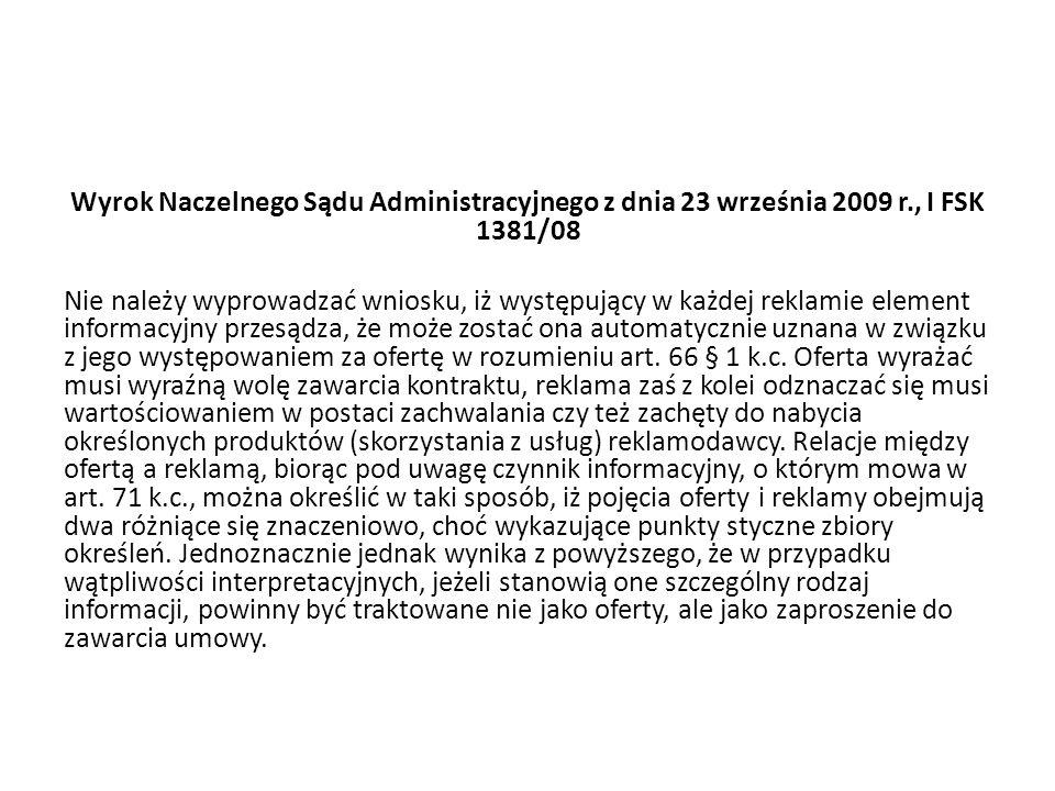 Wyrok Naczelnego Sądu Administracyjnego z dnia 23 września 2009 r