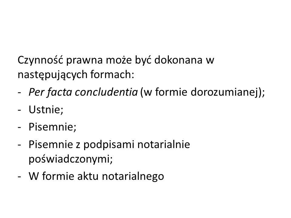 Czynność prawna może być dokonana w następujących formach: