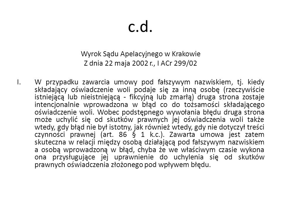Wyrok Sądu Apelacyjnego w Krakowie