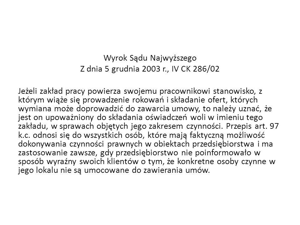 Wyrok Sądu Najwyższego Z dnia 5 grudnia 2003 r