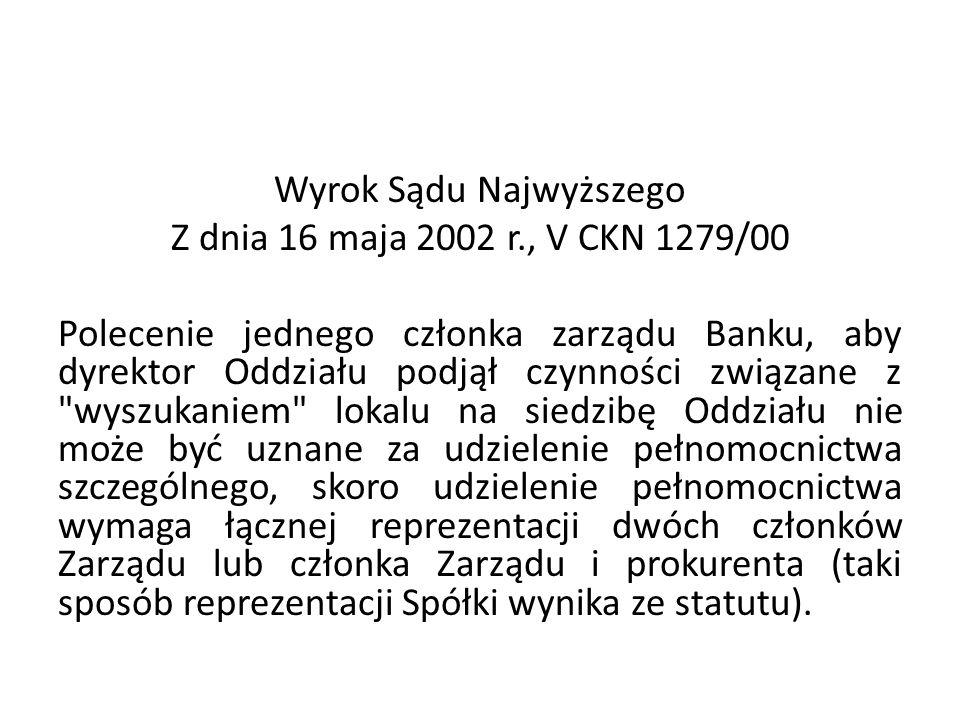 Wyrok Sądu Najwyższego Z dnia 16 maja 2002 r