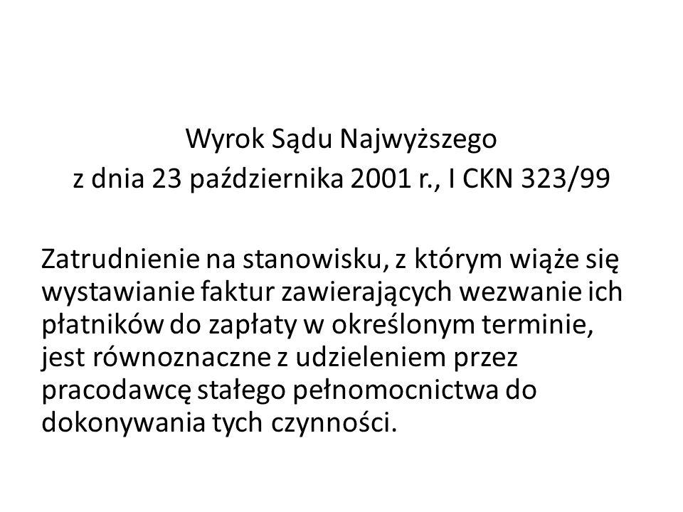 Wyrok Sądu Najwyższego z dnia 23 października 2001 r., I CKN 323/99