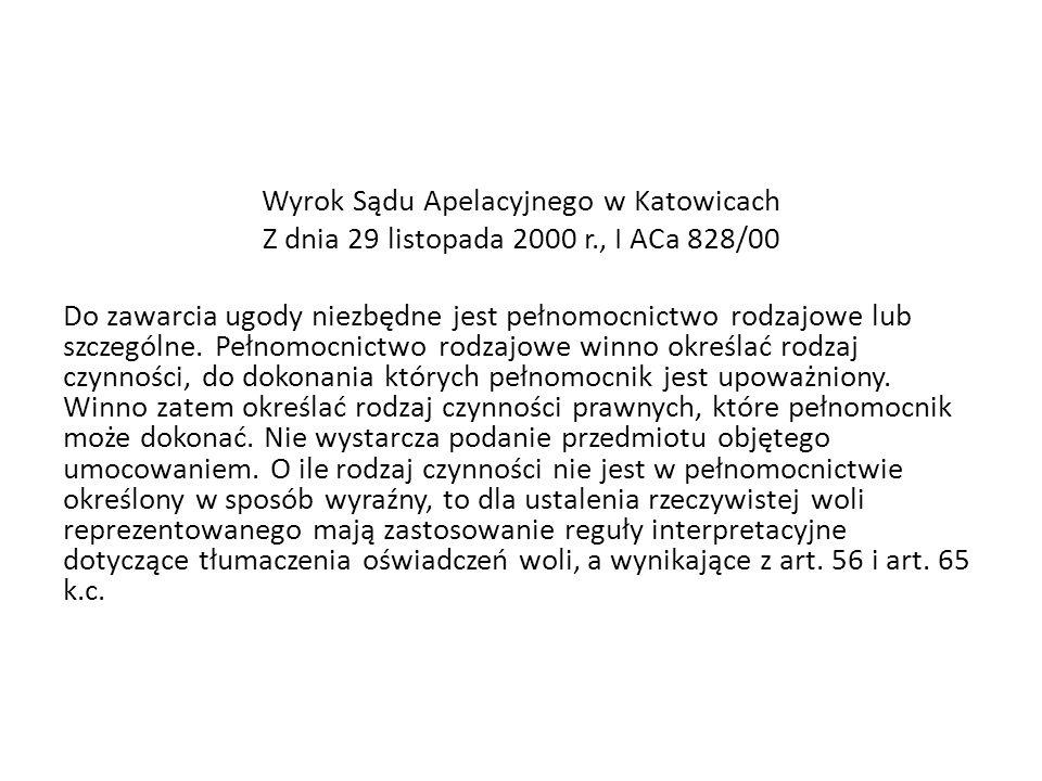 Wyrok Sądu Apelacyjnego w Katowicach Z dnia 29 listopada 2000 r