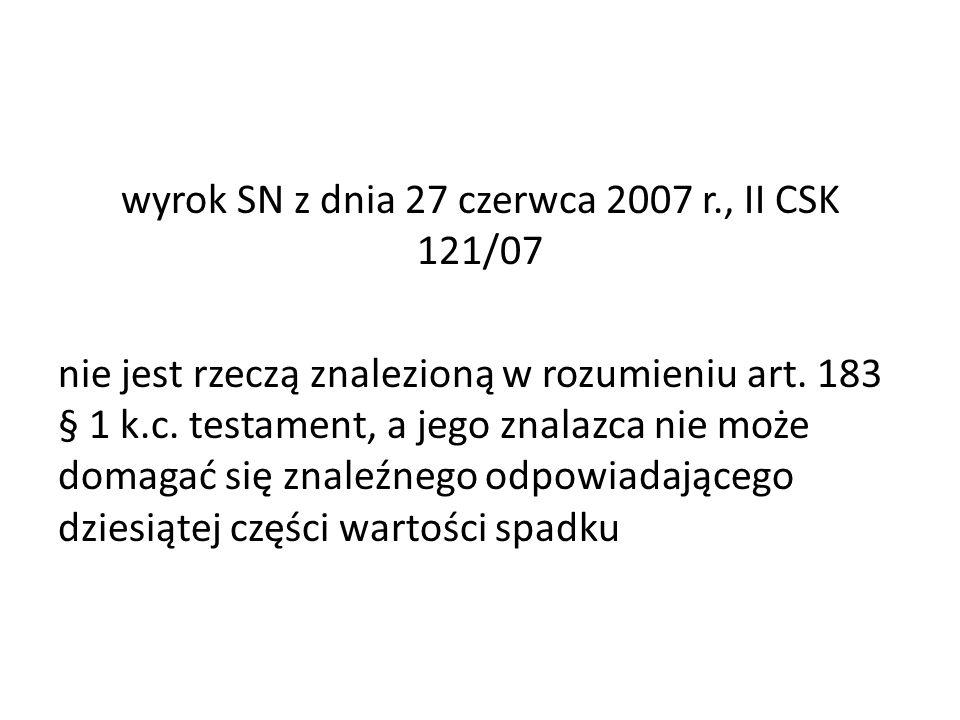 wyrok SN z dnia 27 czerwca 2007 r