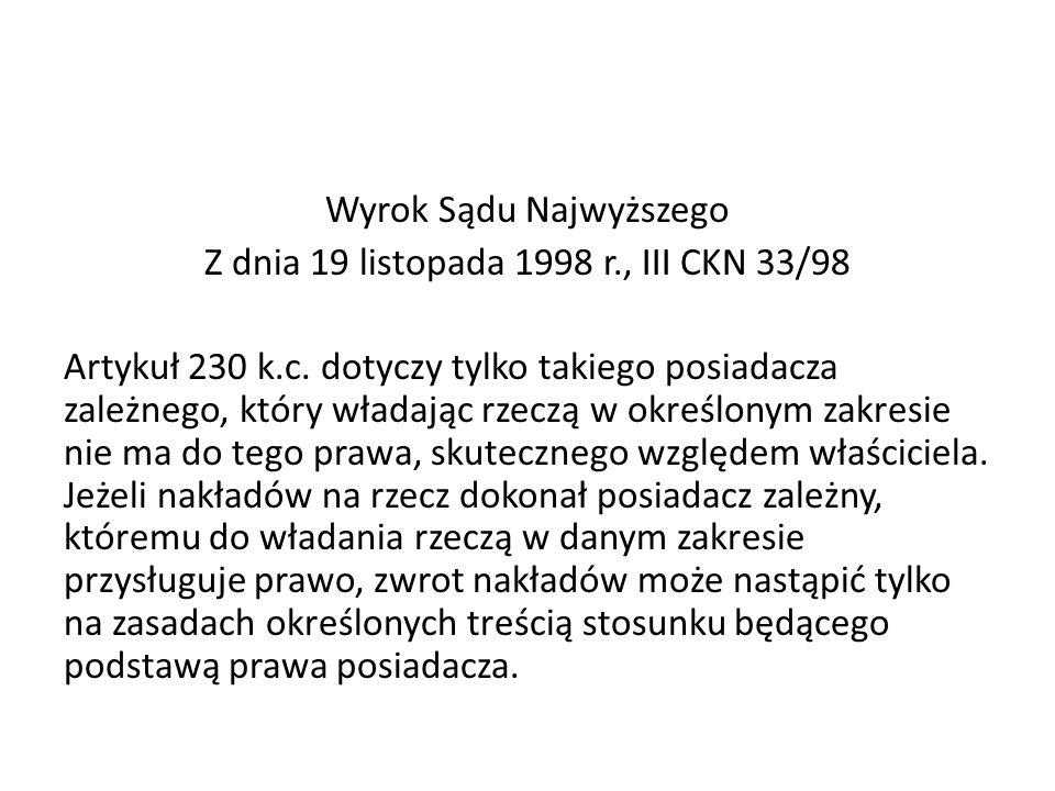Wyrok Sądu Najwyższego Z dnia 19 listopada 1998 r