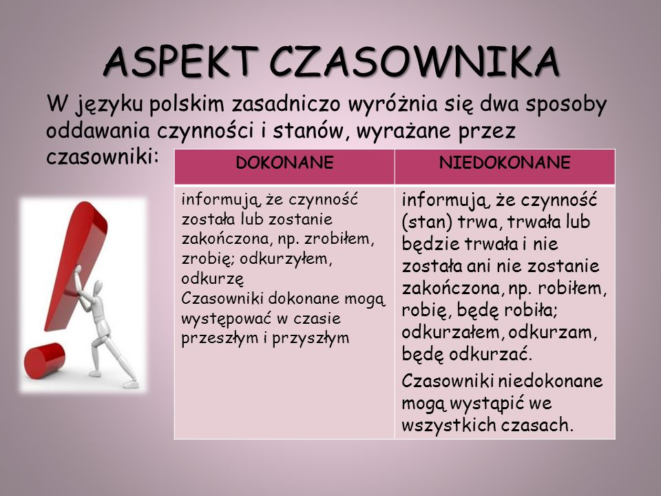 ASPEKT CZASOWNIKA W języku polskim zasadniczo wyróżnia się dwa sposoby oddawania czynności i stanów, wyrażane przez czasowniki: