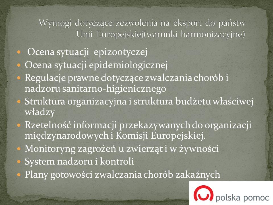 Ocena sytuacji epizootyczej Ocena sytuacji epidemiologicznej