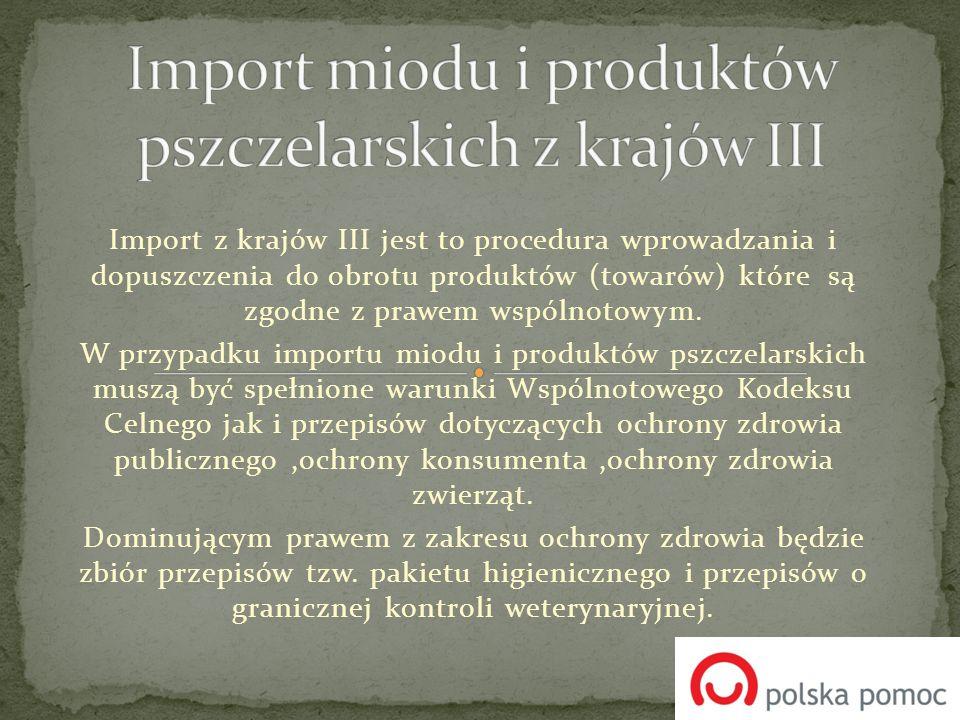 Import miodu i produktów pszczelarskich z krajów III