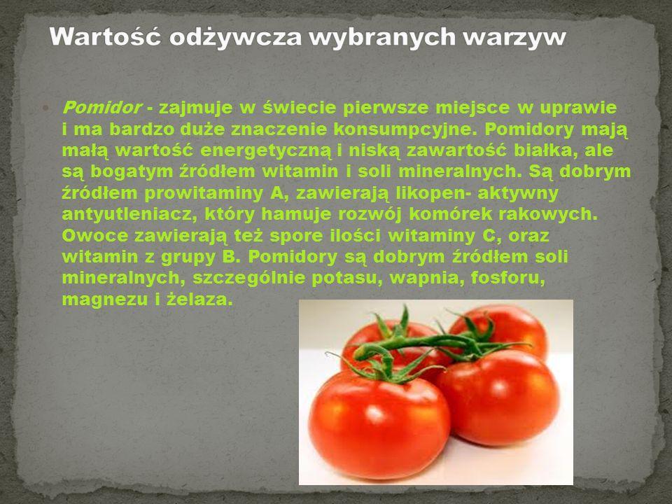 Wartość odżywcza wybranych warzyw