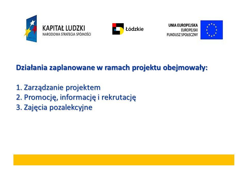 Działania zaplanowane w ramach projektu obejmowały:
