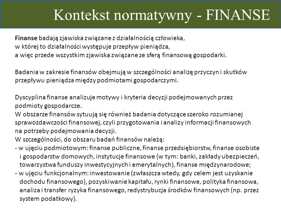 Kontekst normatywny - FINANSE