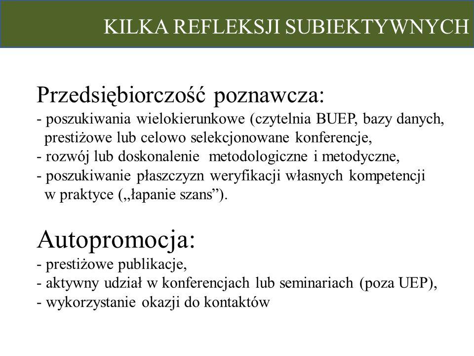 Autopromocja: - prestiżowe publikacje,