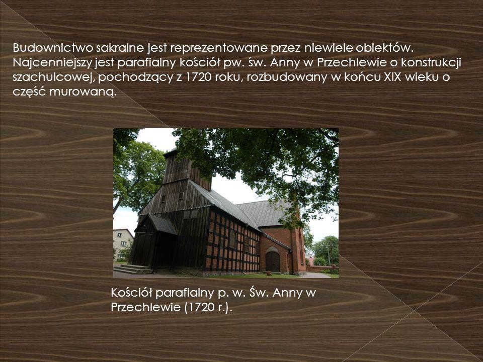 Budownictwo sakralne jest reprezentowane przez niewiele obiektów