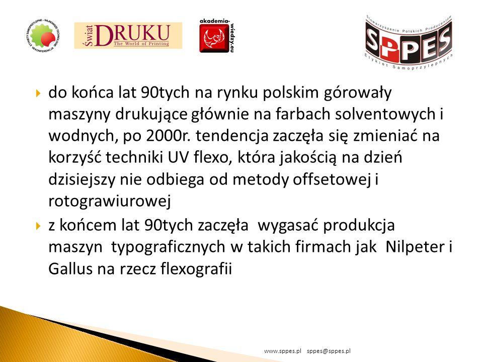 do końca lat 90tych na rynku polskim górowały maszyny drukujące głównie na farbach solventowych i wodnych, po 2000r. tendencja zaczęła się zmieniać na korzyść techniki UV flexo, która jakością na dzień dzisiejszy nie odbiega od metody offsetowej i rotograwiurowej