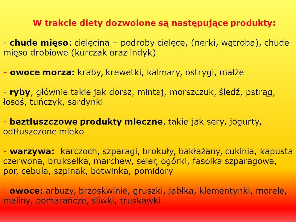 W trakcie diety dozwolone są następujące produkty: