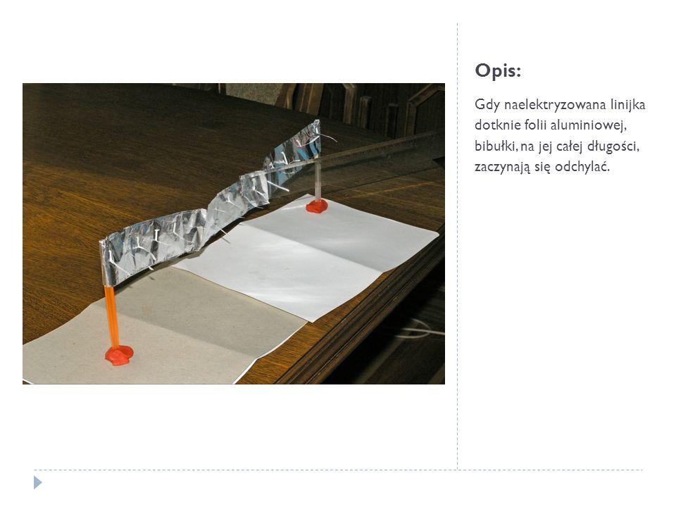 Opis:Gdy naelektryzowana linijka dotknie folii aluminiowej, bibułki, na jej całej długości, zaczynają się odchylać.