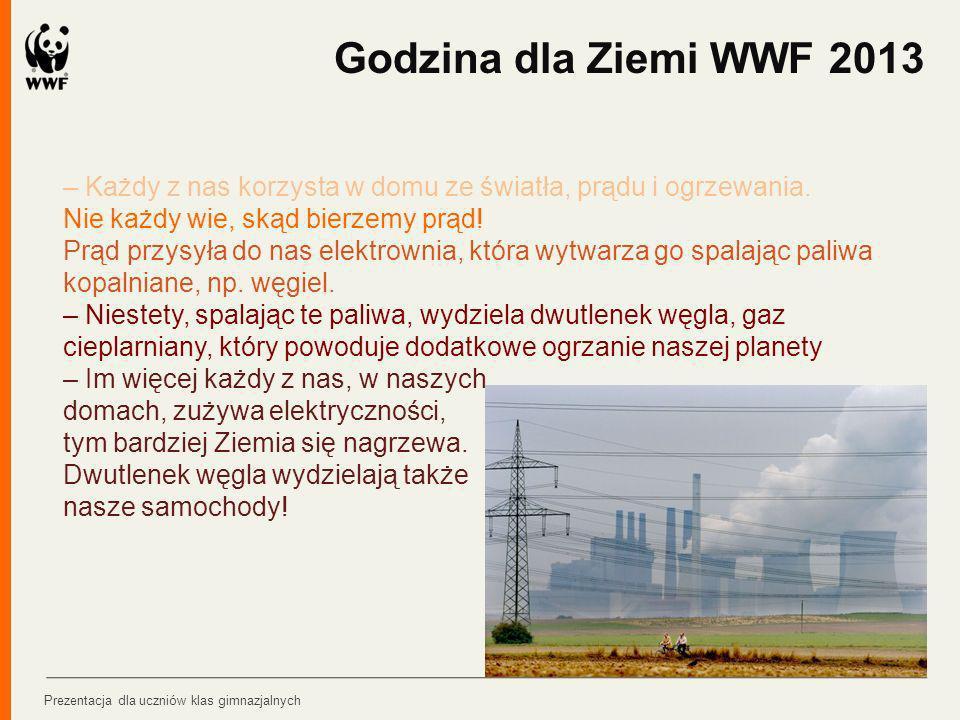 Godzina dla Ziemi WWF 2013 – Każdy z nas korzysta w domu ze światła, prądu i ogrzewania. Nie każdy wie, skąd bierzemy prąd!