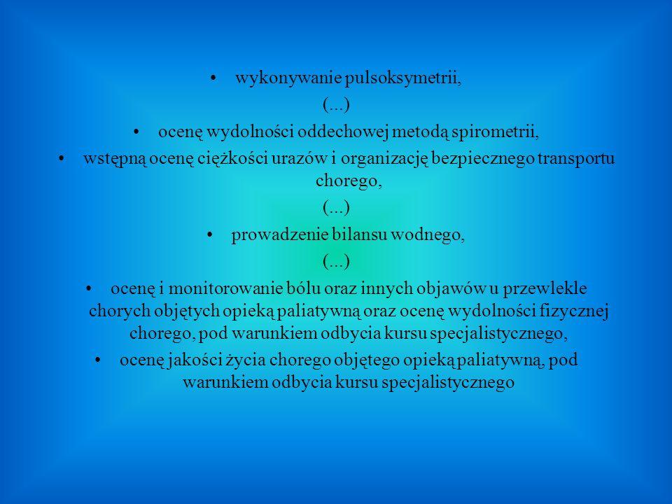 wykonywanie pulsoksymetrii, (...)