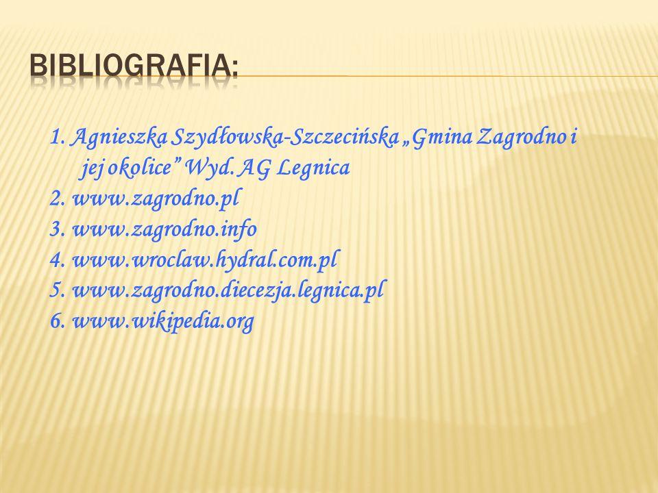 """Bibliografia: 1. Agnieszka Szydłowska-Szczecińska """"Gmina Zagrodno i jej okolice Wyd. AG Legnica. 2. www.zagrodno.pl."""