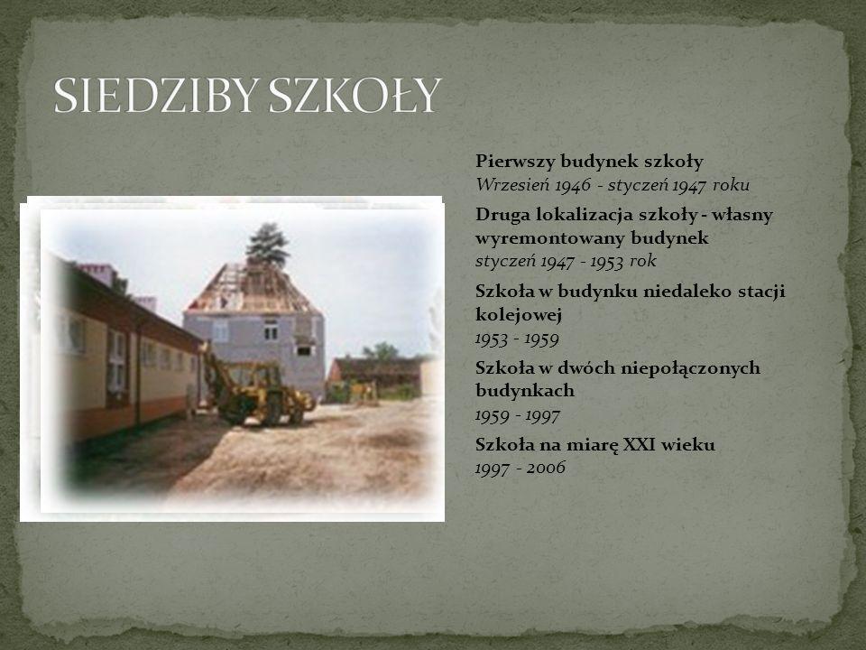 SIEDZIBY SZKOŁY Pierwszy budynek szkoły Wrzesień 1946 - styczeń 1947 roku.