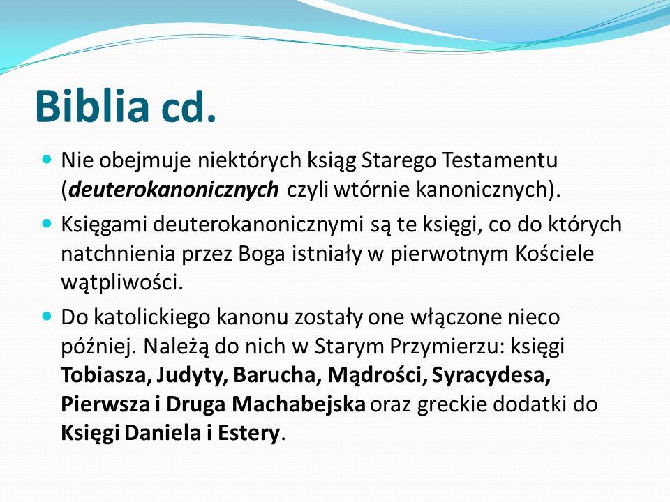 Biblia cd. Nie obejmuje niektórych ksiąg Starego Testamentu (deuterokanonicznych czyli wtórnie kanonicznych).