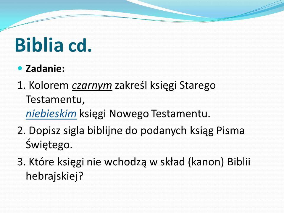 Biblia cd. Zadanie: 1. Kolorem czarnym zakreśl księgi Starego Testamentu, niebieskim księgi Nowego Testamentu.