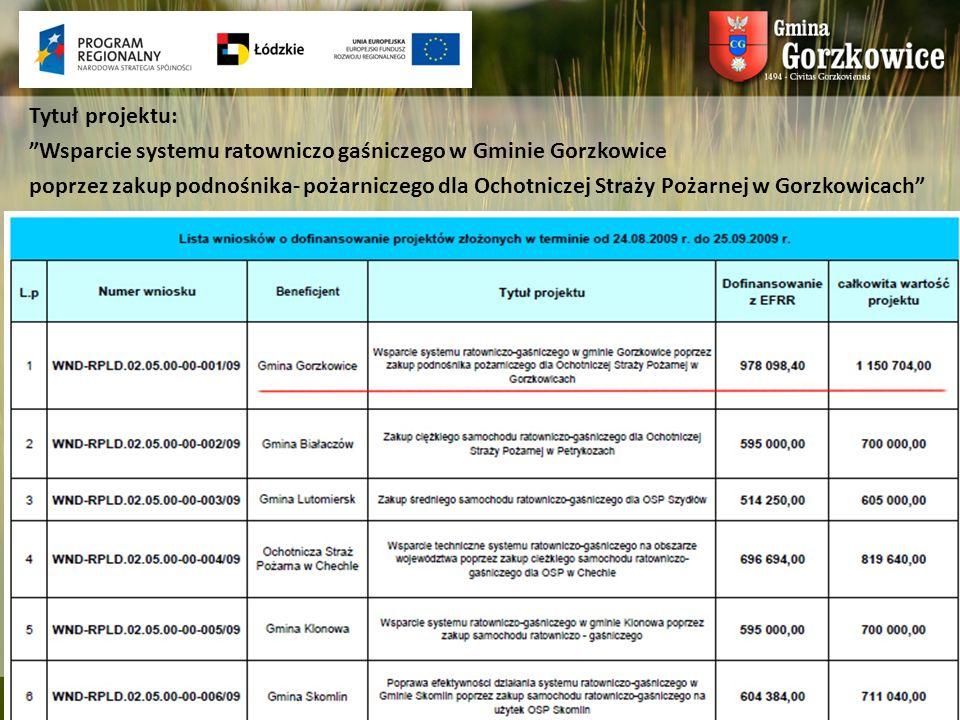 Tytuł projektu: Wsparcie systemu ratowniczo gaśniczego w Gminie Gorzkowice.