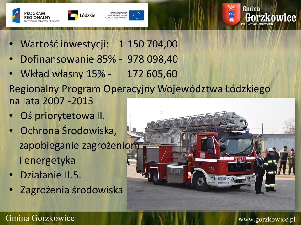 Wartość inwestycji: 1 150 704,00 Dofinansowanie 85% - 978 098,40. Wkład własny 15% - 172 605,60.