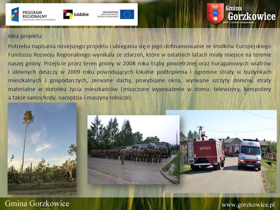 Idea projektu: Potrzeba napisania niniejszego projektu i ubiegania się o jego dofinansowanie ze środków Europejskiego Funduszu Rozwoju Regionalnego wynikała ze zdarzeń, które w ostatnich latach miały miejsce na terenie naszej gminy.