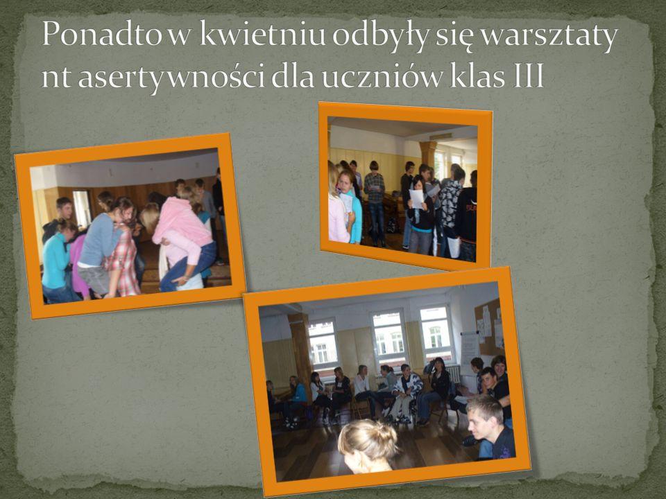 Ponadto w kwietniu odbyły się warsztaty nt asertywności dla uczniów klas III