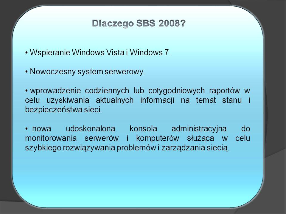 Dlaczego SBS 2008 Wspieranie Windows Vista i Windows 7.
