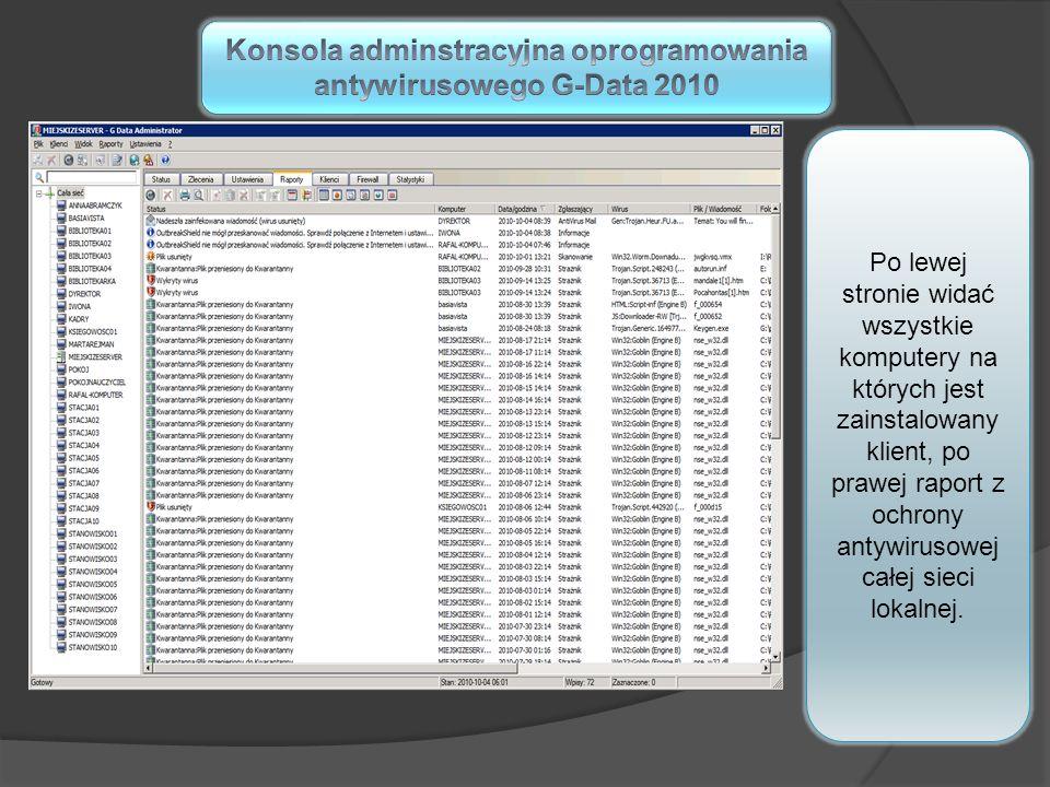 Konsola adminstracyjna oprogramowania antywirusowego G-Data 2010