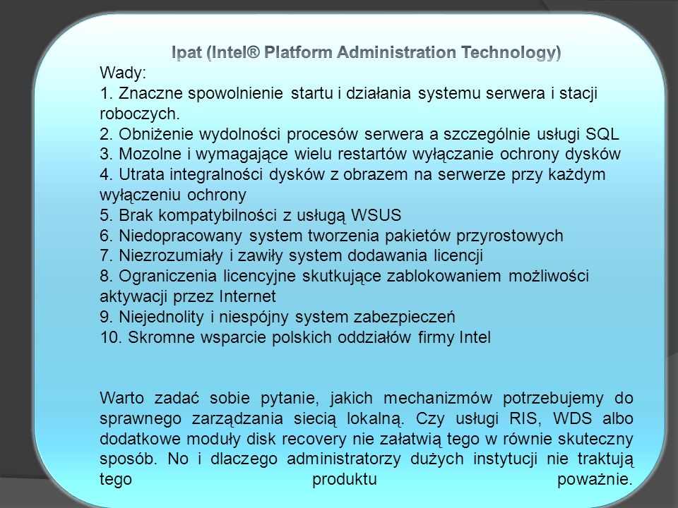 Ipat (Intel® Platform Administration Technology)