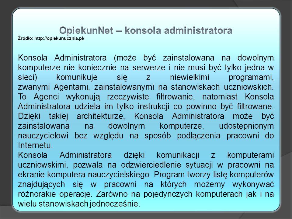 OpiekunNet – konsola administratora