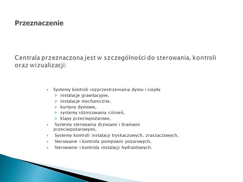 Przeznaczenie Centrala przeznaczona jest w szczególności do sterowania, kontroli oraz wizualizacji: