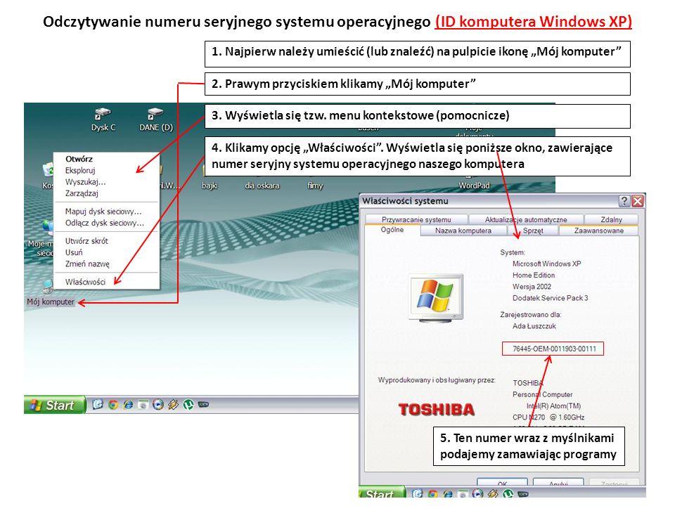 Odczytywanie numeru seryjnego systemu operacyjnego (ID komputera Windows XP)