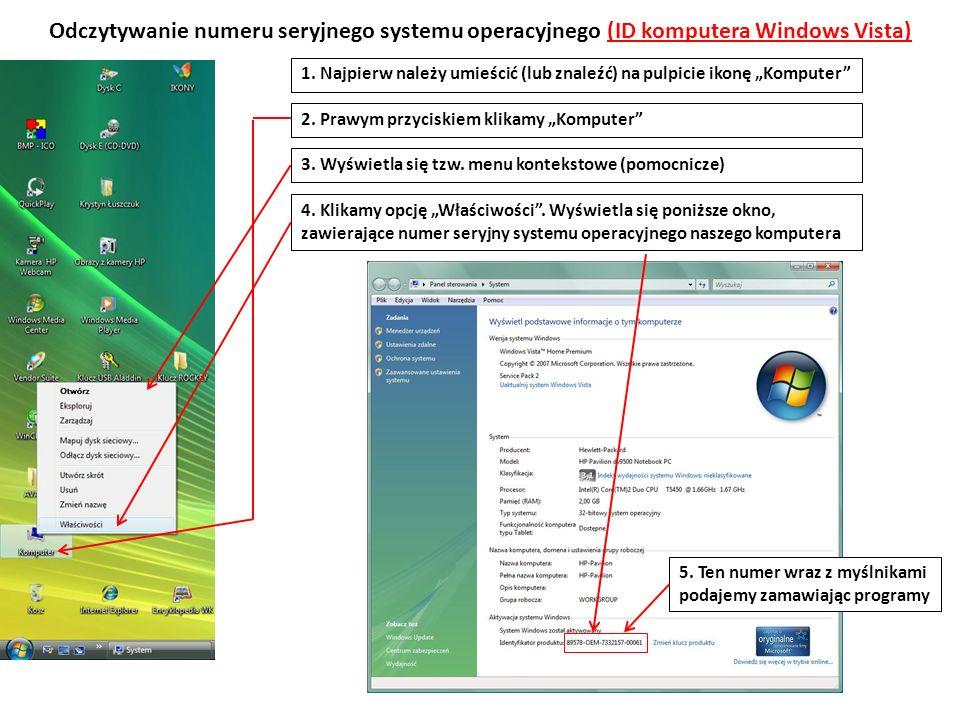 Odczytywanie numeru seryjnego systemu operacyjnego (ID komputera Windows Vista)