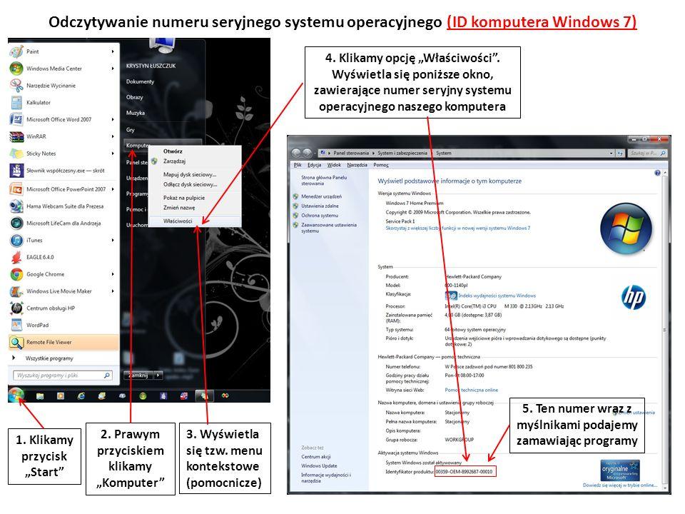 Odczytywanie numeru seryjnego systemu operacyjnego (ID komputera Windows 7)