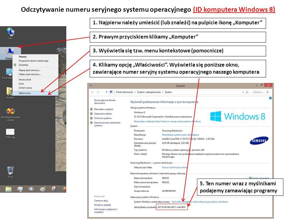 Odczytywanie numeru seryjnego systemu operacyjnego (ID komputera Windows 8)