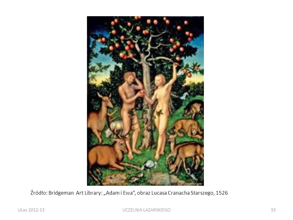 """Źródło: Bridgeman Art Library: """"Adam i Ewa , obraz Lucasa Cranacha Starszego, 1526"""