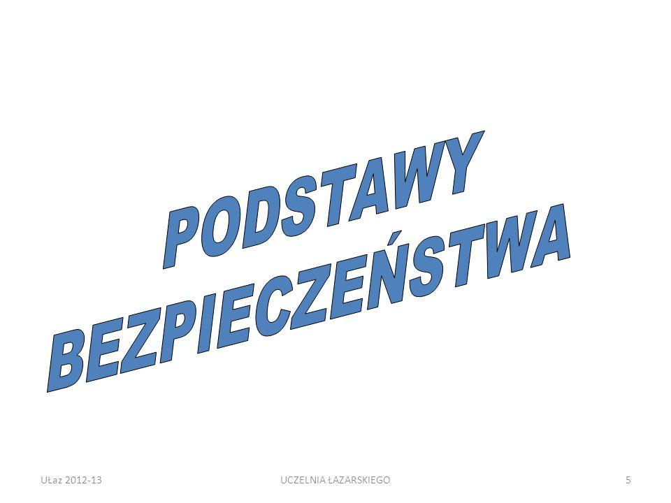 PODSTAWY BEZPIECZEŃSTWA UŁaz 2012-13 UCZELNIA ŁAZARSKIEGO