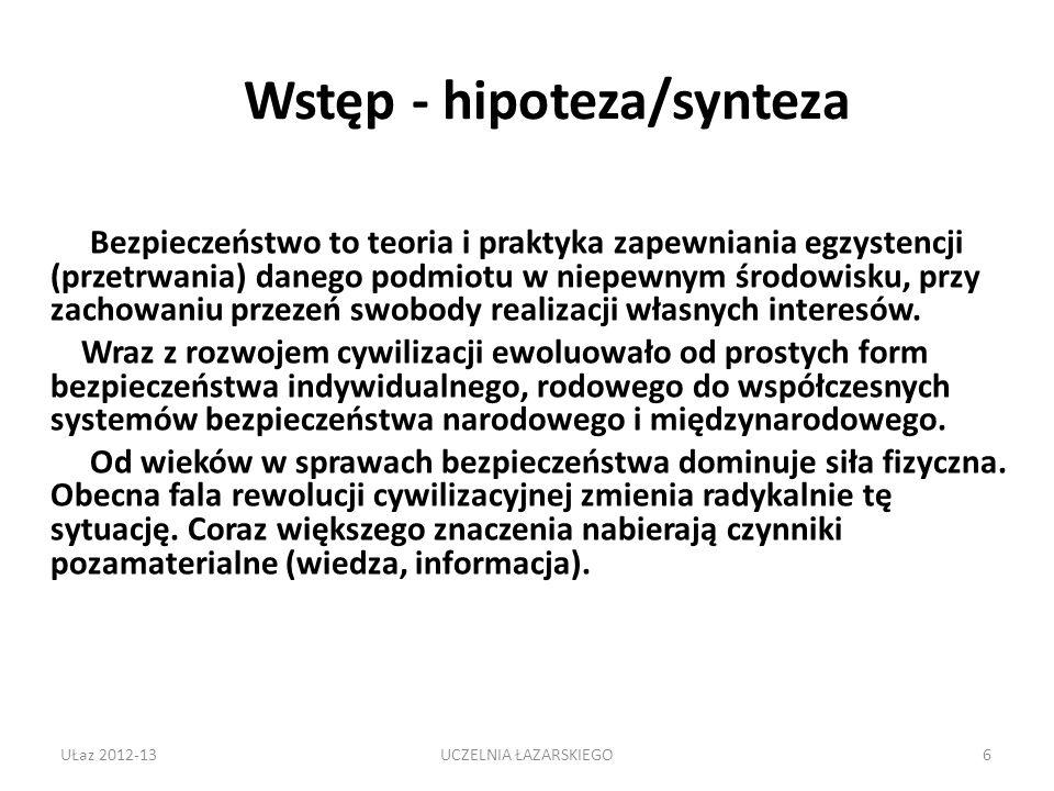 Wstęp - hipoteza/synteza