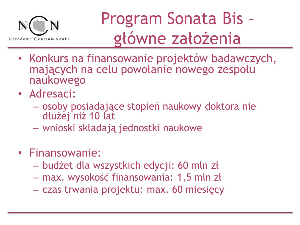 Program Sonata Bis – główne założenia