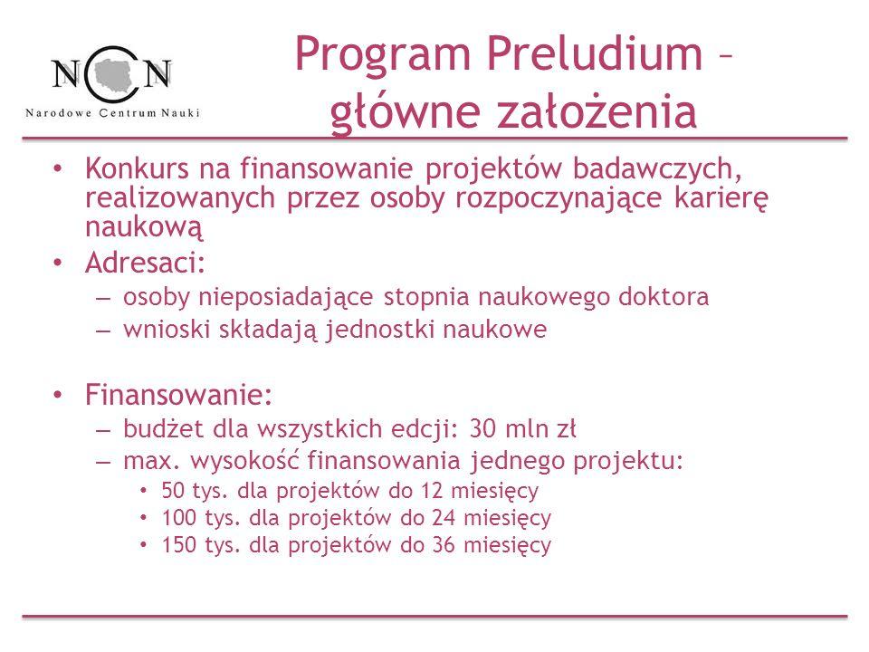 Program Preludium – główne założenia
