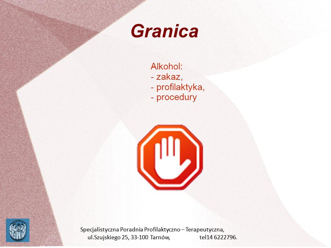 Granica Alkohol: - zakaz, - profilaktyka, - procedury