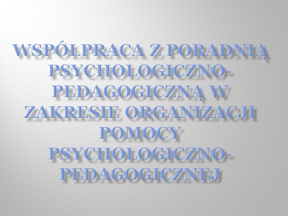 Współpraca z Poradnią Psychologiczno- Pedagogiczną w zakresie organizacji Pomocy Psychologiczno- Pedagogicznej