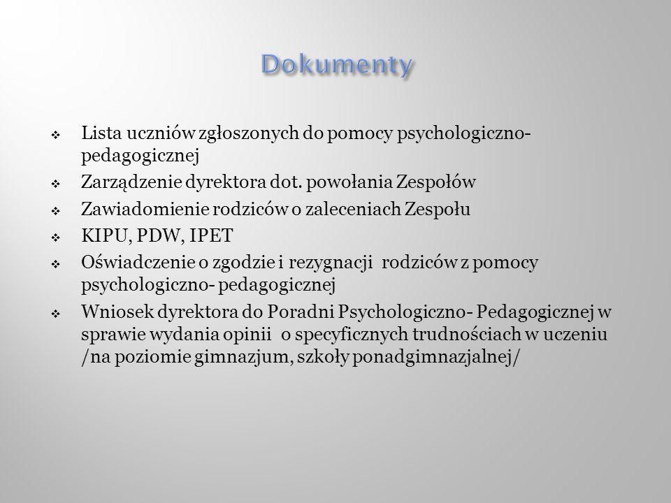 Dokumenty Lista uczniów zgłoszonych do pomocy psychologiczno- pedagogicznej. Zarządzenie dyrektora dot. powołania Zespołów.