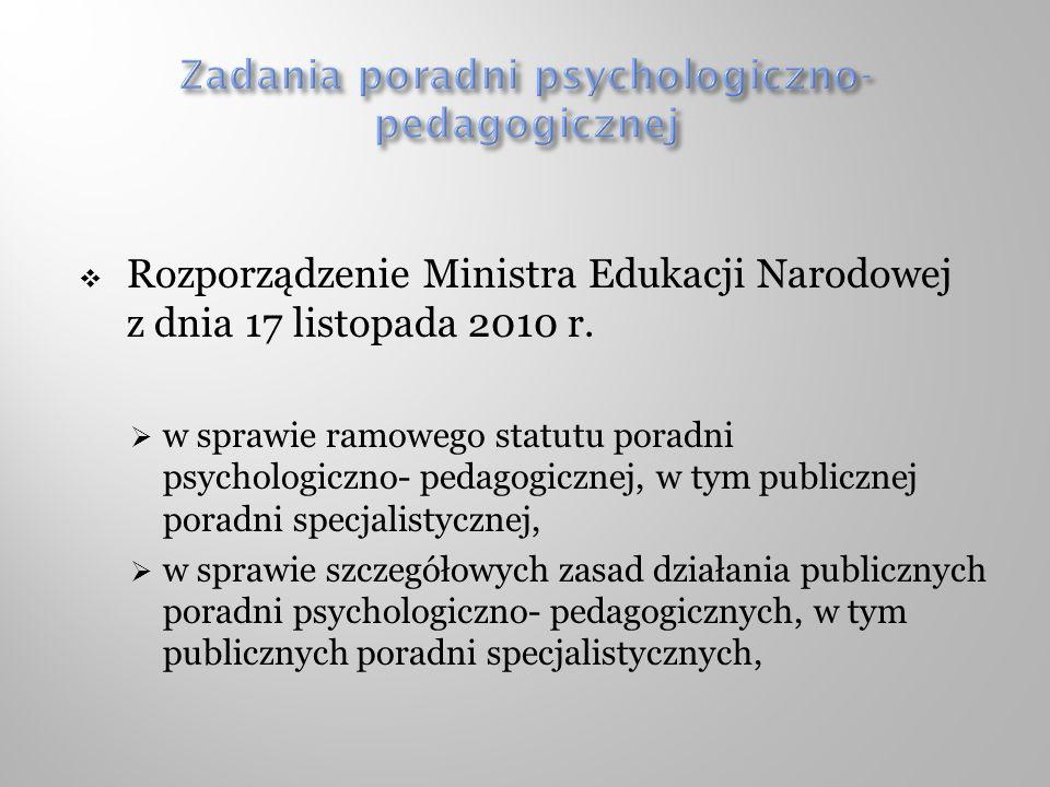 Zadania poradni psychologiczno- pedagogicznej