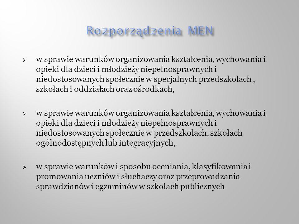 Rozporządzenia MEN