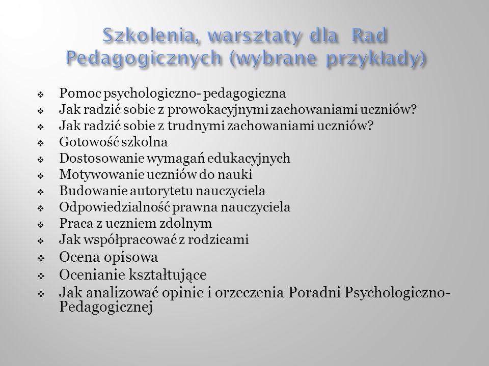 Szkolenia, warsztaty dla Rad Pedagogicznych (wybrane przykłady)